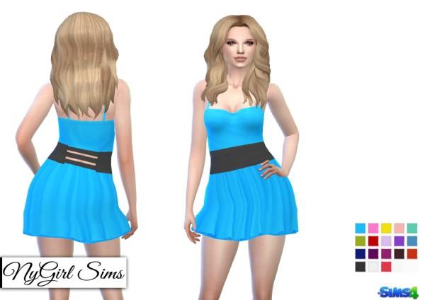 NY Girl Sims: Banded Spaghetti Strap Skater Dress