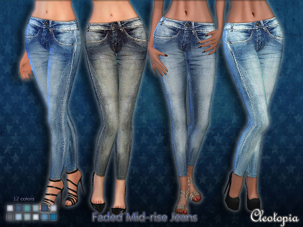 The Sims Resource: Set 40 Mid Rise Faded Jeans by Cleotopia