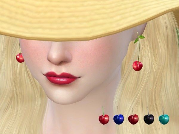 The Sims Resource: Cherry earrings by S Club