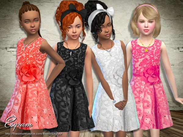 The Sims Resource: Sleeveless Floral Lace Dress by EsyraM