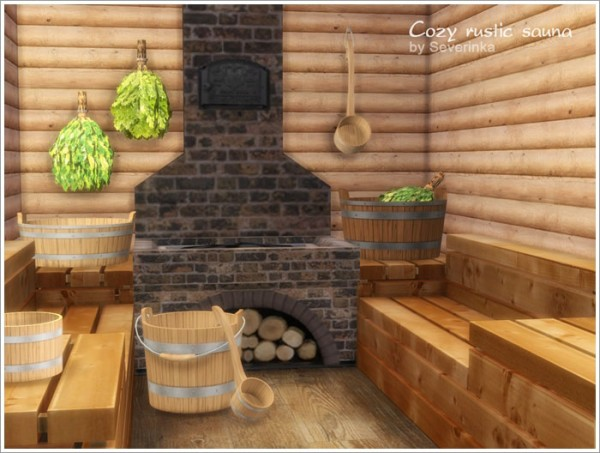 Sims By Severinka Cozy Rustic Sauna Sims 4 Downloads