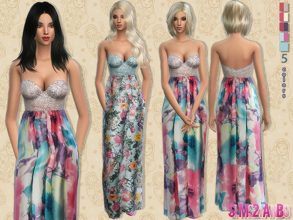 The Sims Resource: 59   Long floral dress by sims2fanbg