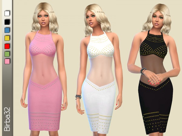 The Sims Resource: Studs and transparencies dress by Birba32
