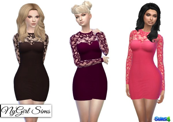 NY Girl Sims: Long Sleeve Laced Bodycon