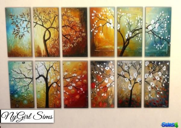 NY Girl Sims: Modern Tree 3 Piece Canvas Art