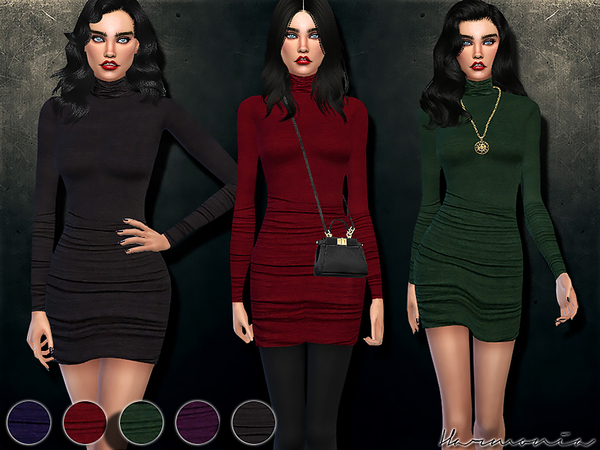 The Sims Resource: Figure forming Turtleneck Dress by Harmonia