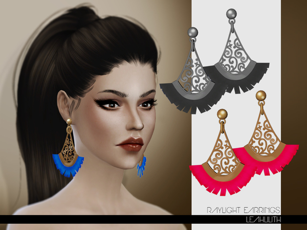 The Sims Resource: Raylight Earrings by LeahLilith