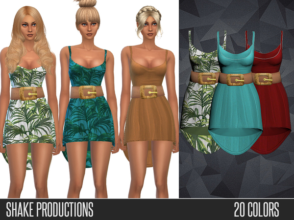 The Sims Resource: 39 3D Belted Dress by ShakeProductions