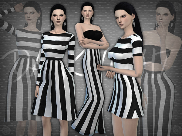 The Sims Resource: SET 09   Black and White Striped Set by DarkNighTt