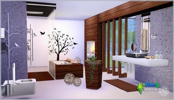 Simcredible designs modernism bathroom sims 4 downloads for Bathroom decor sims 3