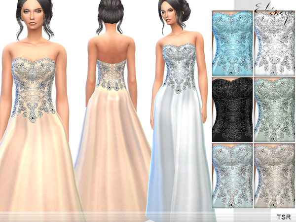 The Sims Resource: Strapless Gown by ekinege