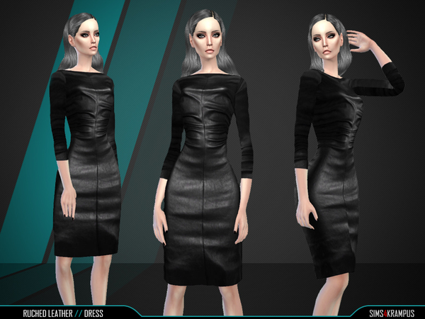 The Sims Resource: Ruched Leather Dress by SIms4Krampus