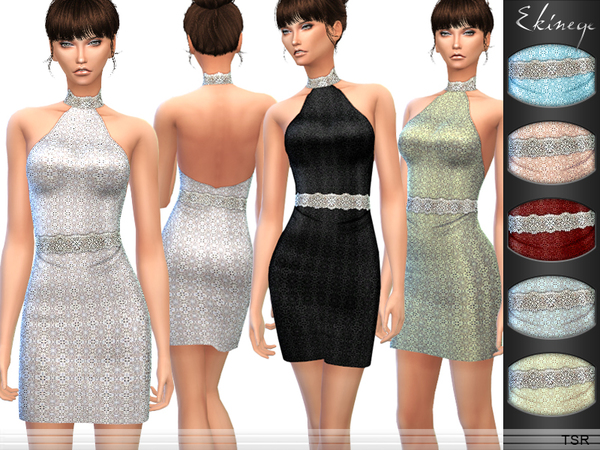 The Sims Resource: Embellished Halter Dress by Ekinege