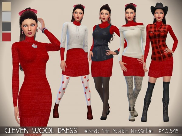 The Sims Resource: Clever Wool Dress by Paogae