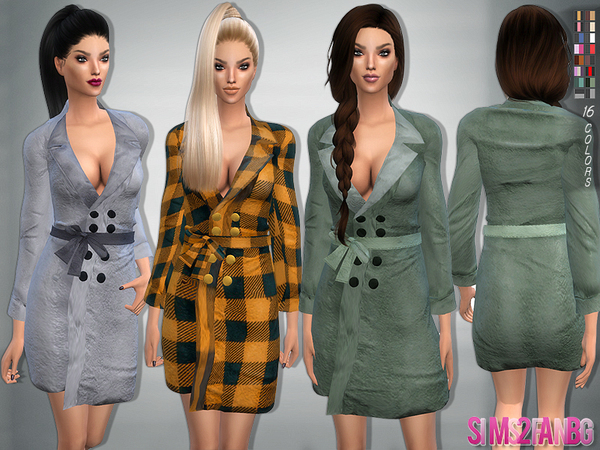 The Sims Resource: 78   Bow belt coat by sims2fanbg