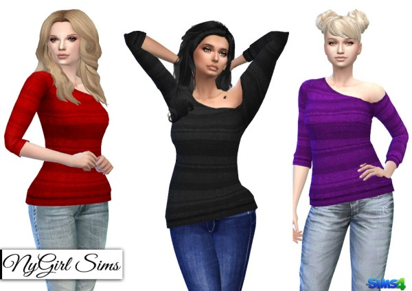 NY Girl Sims: Knitted Stripe One Shoulder Sweater