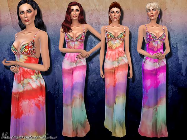 The Sims Resource: Bead Embellishment Silk Maxi Dress by Harmonia