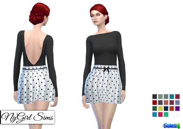 NY Girl Sims: Backless Polka Dot Dress