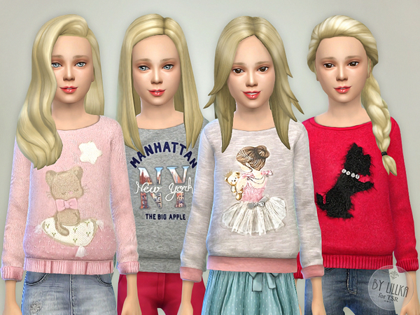 The Sims Resource: Printed Sweatshirt for Girls P03 by lillka