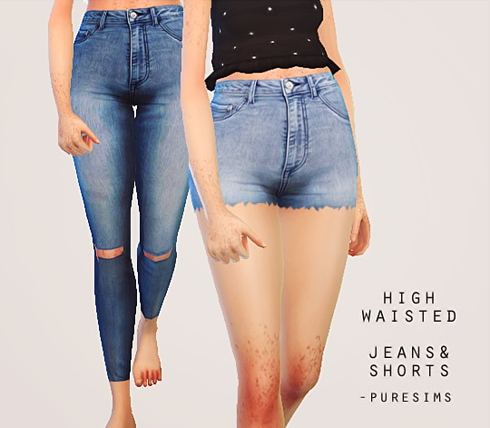Pure Sims: High waisted jeans & shorts • Sims 4 Downloads