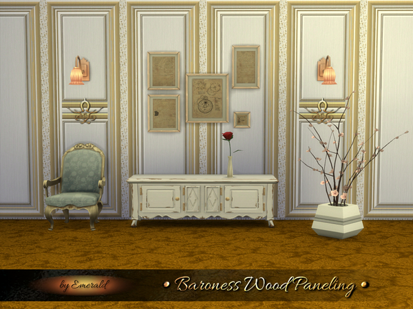 The Sims Resource: Baroness Wood Paneling by Emerald