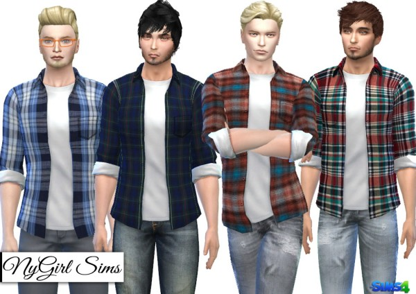 NY Girl Sims: Plaid Button Up with Tee