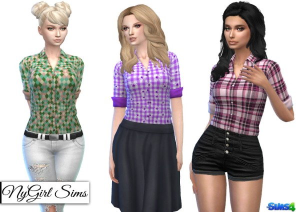 NY Girl Sims: Plaids and Prints Tucked Button Down