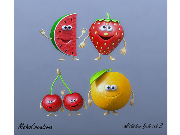 The Sims Resource: Wallsticker Fruit Set B by MahoCreations