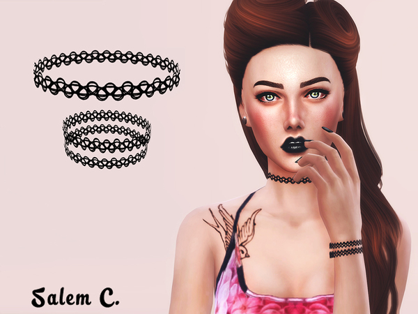 The Sims Resource: Tattoo Choker and Bracelet