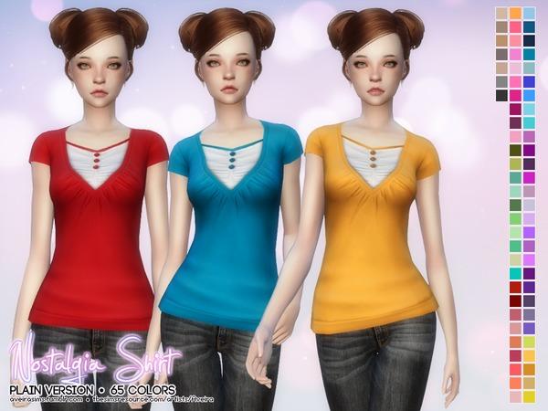 The Sims Resource: Nostalgia Shirt   Plain version by Aveira