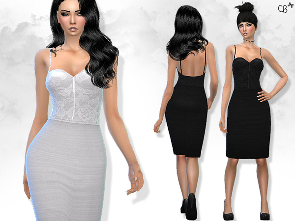The Sims Resource: Pencil dress with straps by CherryBerrySim