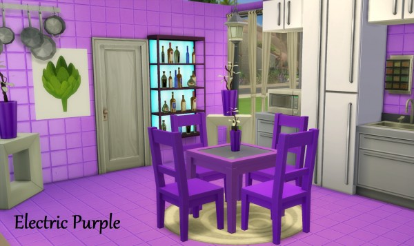 Mod The Sims: Dining Table and Chair Set in 12 Fluro Colours by wendy35pearly