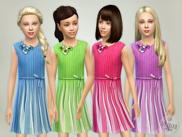 The Sims Resource: Pleated Dress by lillka