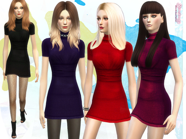 The Sims Resource: Monica Jersey Dress by Simsimay