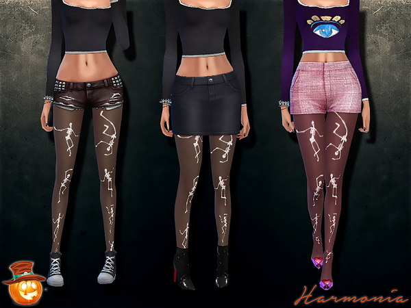 The Sims Resource: Halloween Dancing Skeleton Glow In The Dark Tights by Harmonia