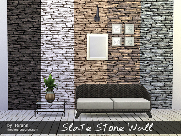 The Sims Resource: Slate Stone Wall by Rirann