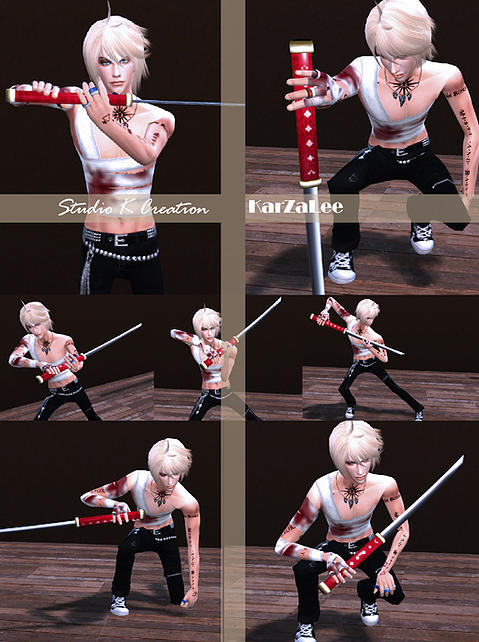 poses sword katana studio sims pose creation sims4downloads