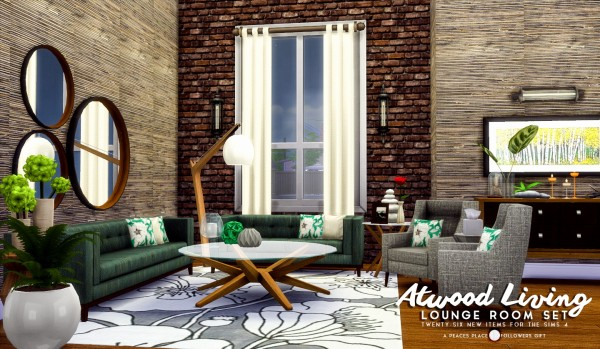 Simsational designs atwood living lounge room set for Living room designs sims 4