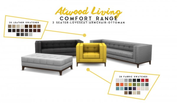 Simsational designs: Atwood Living   Lounge Room Set