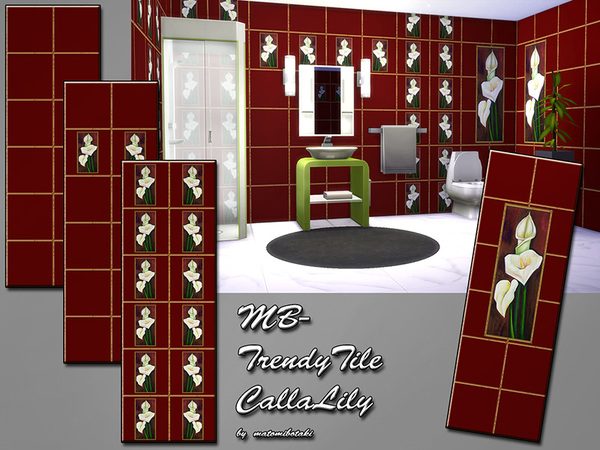 The Sims Resource: MB Trendy Tile Calla Lily by matomibotaki
