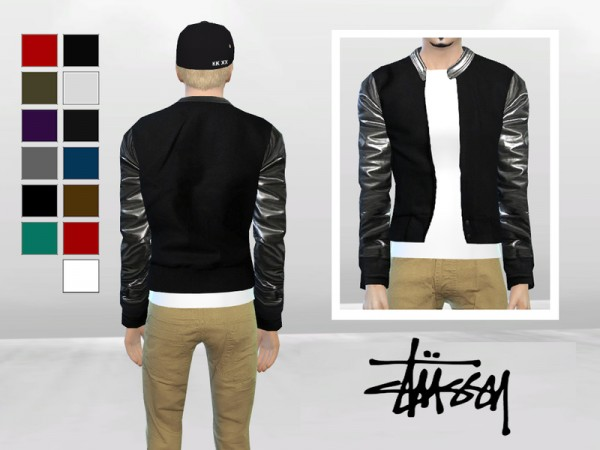 The Sims Resource: Metallic Leather Bomber Jacket by McLayneSims