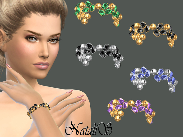 The Sims Resource: Crystals and beads bracelet by NataliS