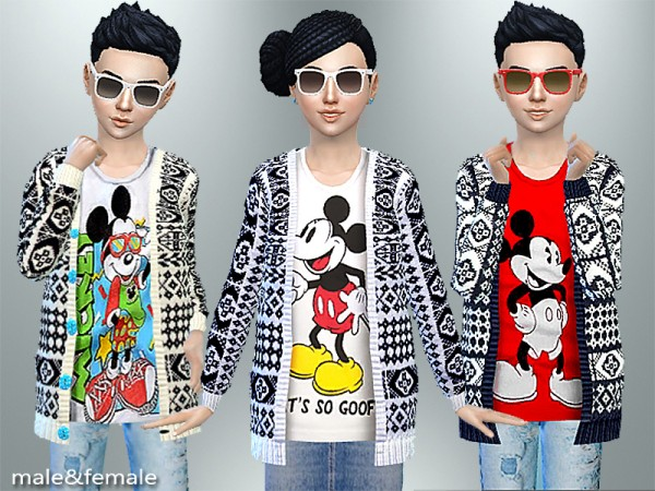 The Sims Resource: Mickey Mouse Fall Cardigan by Pinkzombiecupcake