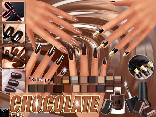 The Sims Resource: Chocolate Nails Collection by Pinkzombiecupcake