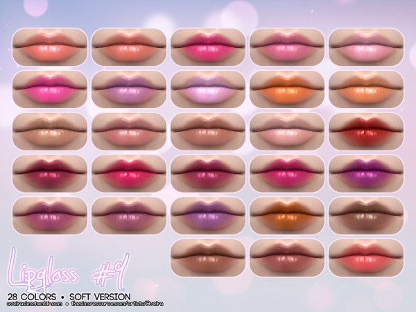 The Sims Resource: Lipgloss 9   Soft Version by Aveira