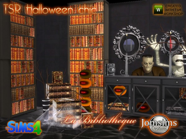 The Sims Resource: Halloween chic set la bibliotheque by jomsims