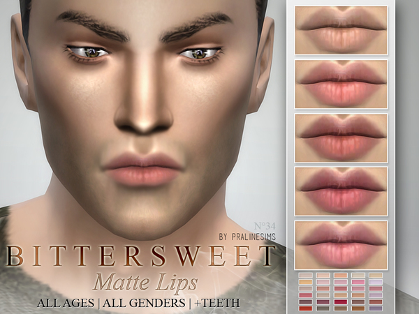 The Sims Resource Bittersweet Matte Lipstick 30 Colors