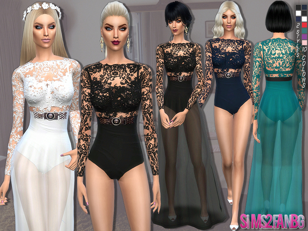 The Sims Resource: 88   2 in 1   dress and bodysuit by sims2fanbg
