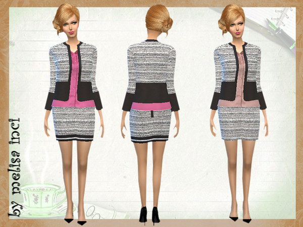The Sims Resource: Two Tone Textured Boucle Set by Melisa Inci