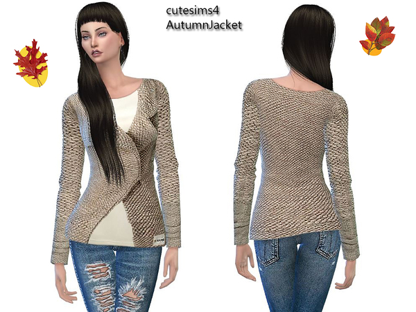 The Sims Resource: Autumn Jacket beige by Sweetsims4
